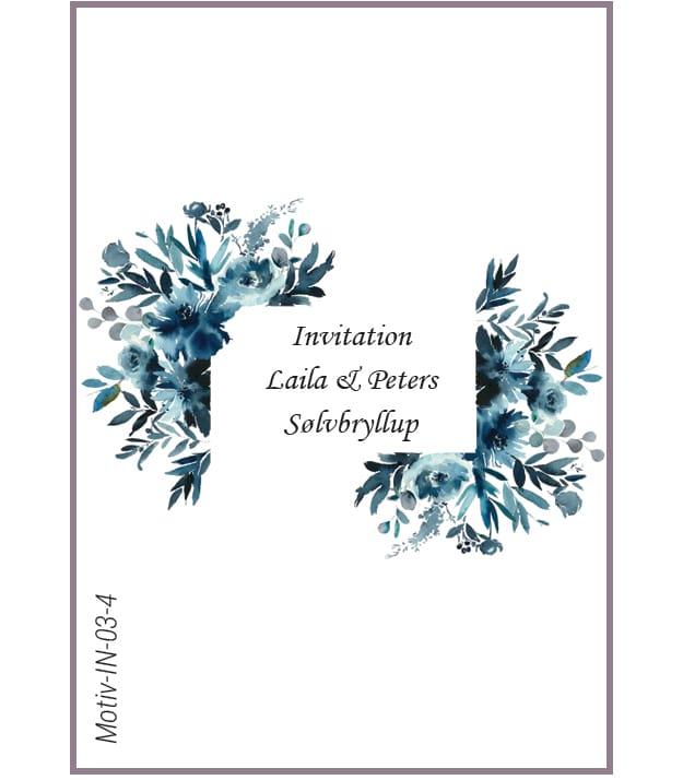 Invitationskort med blå blomster