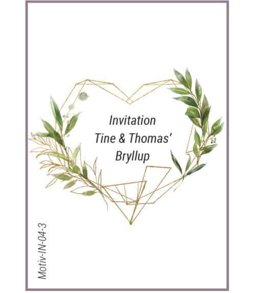 Invitation hjerte med blade