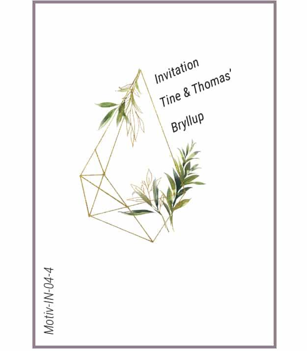 Invitation guld-grønne blade