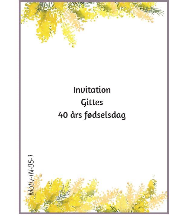 Invitation med gule blomster
