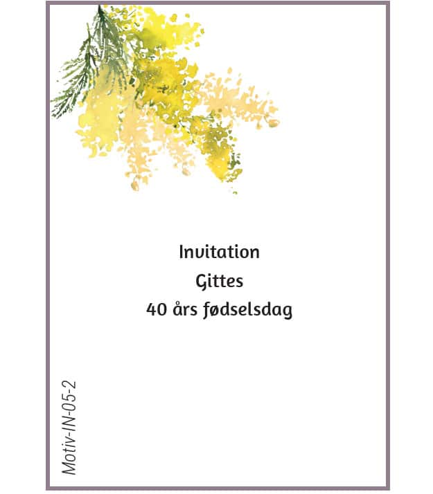Invitation med gule mimoser