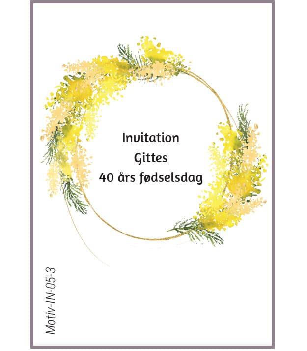 Invitation med gul blomsterkrans