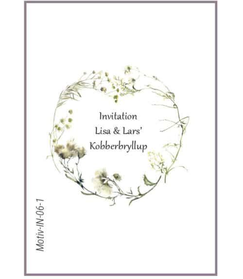 Invitation med hjerte af løvblomster