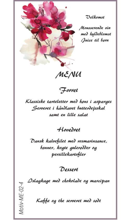 Menukort med kirsebærblomst - Motiv ME-02-4