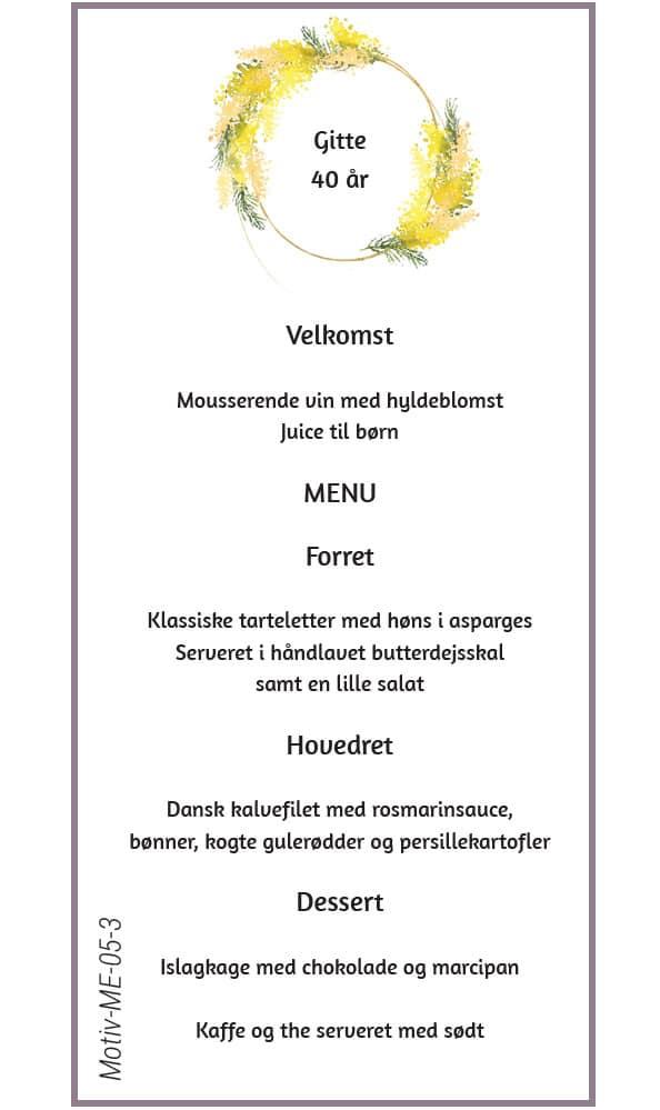 Menukort med krans af mimoser