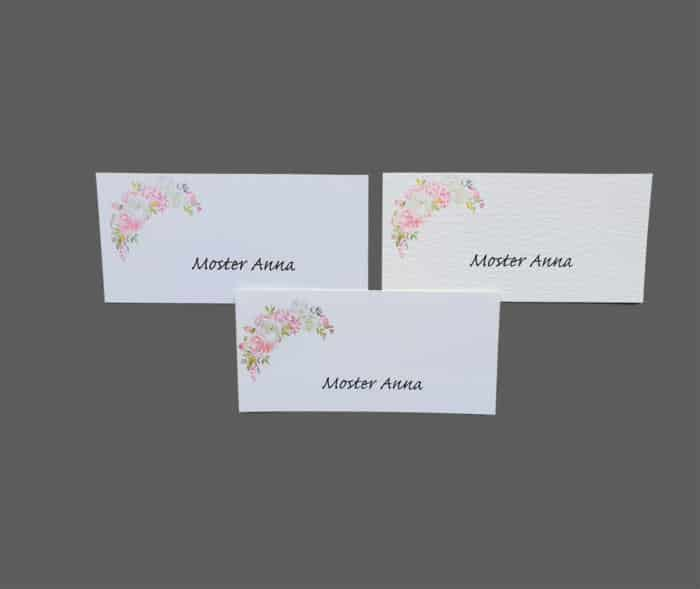 Bordkort med roser - print på karton