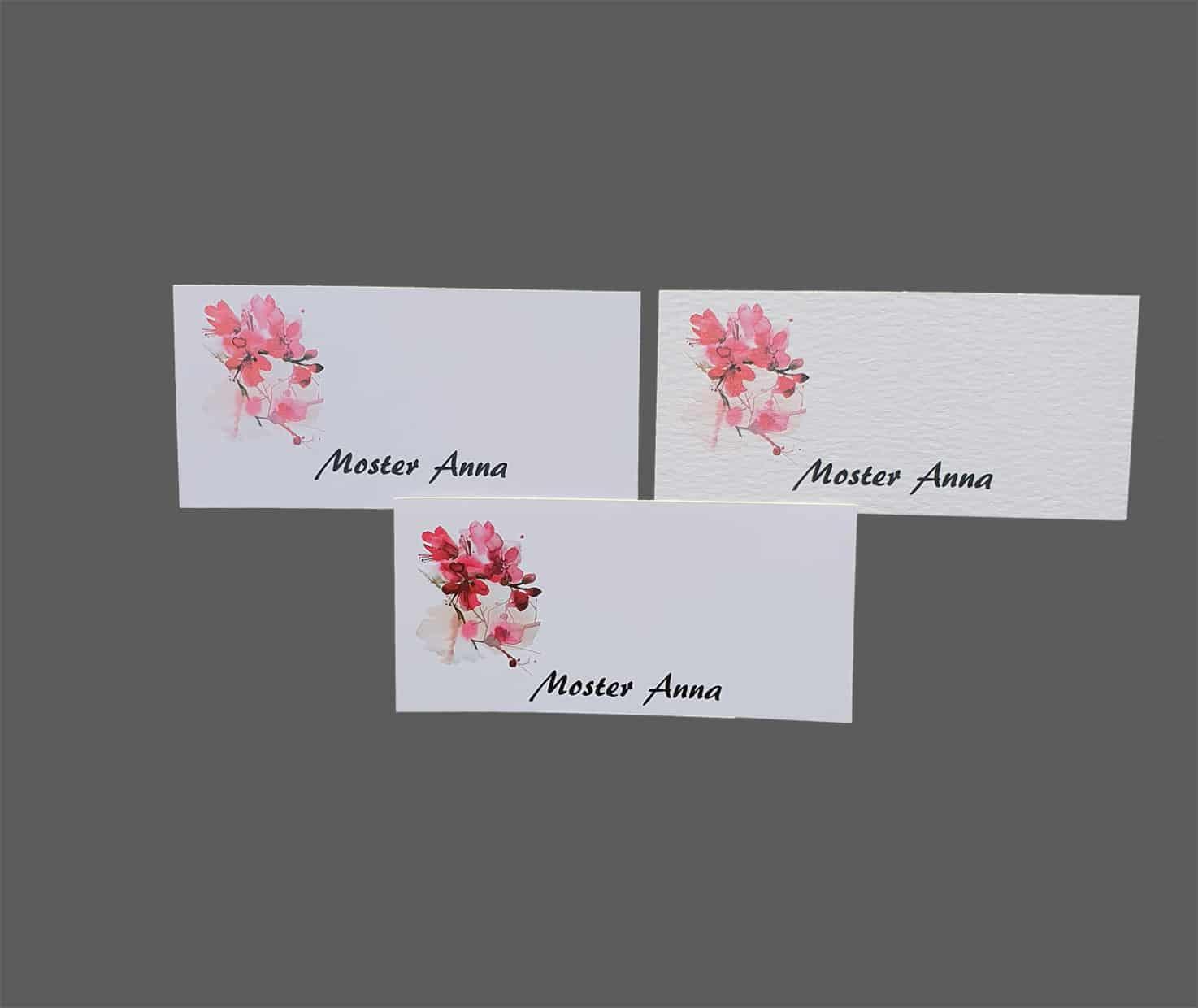 Bordkort med kirsebærblomster - print på karton