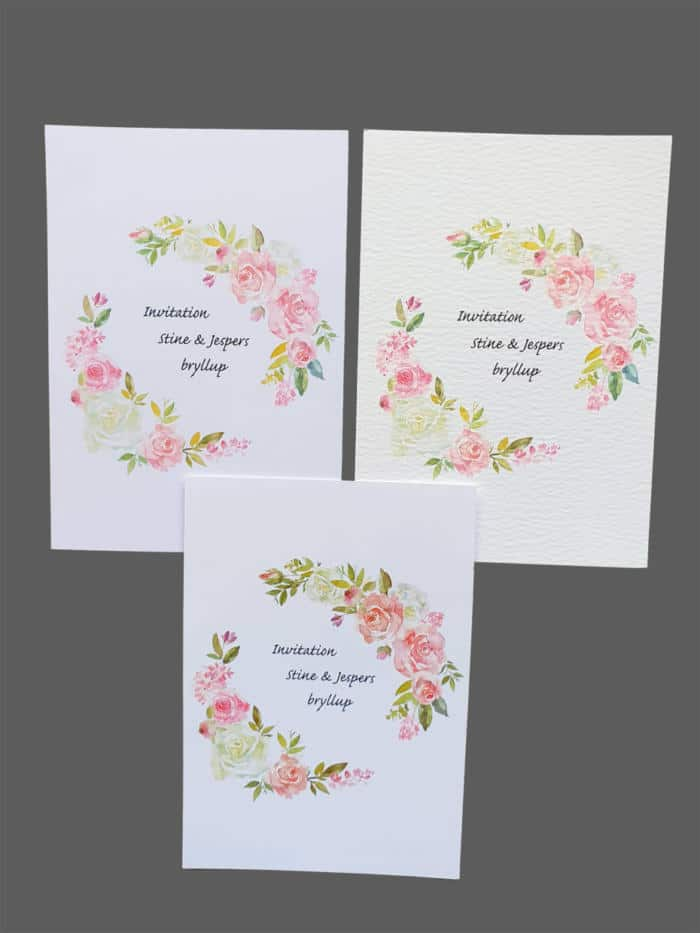 Invitation med roser - print på karton