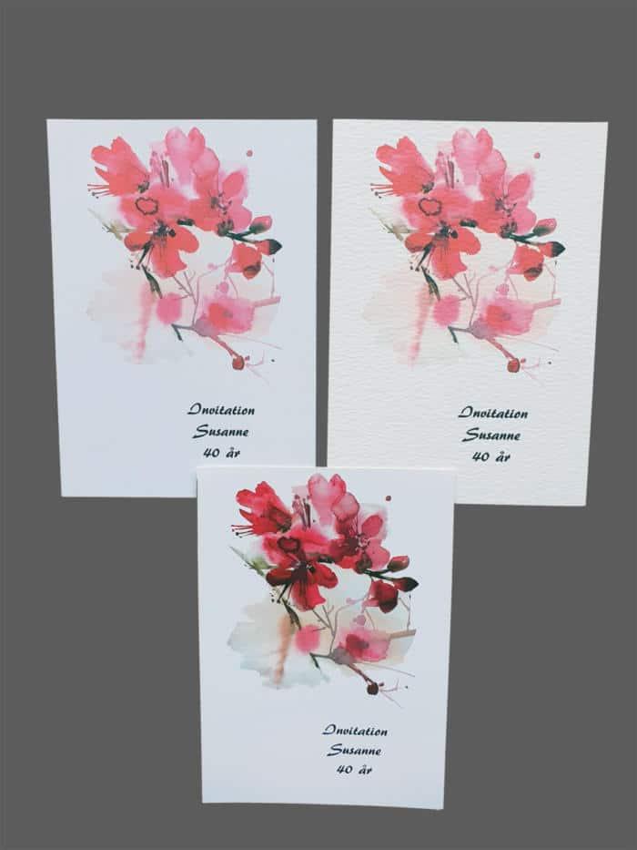 Invitation med kirsebærblomst print på karton