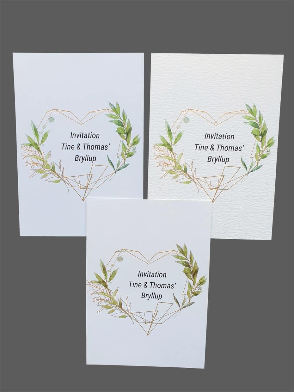 Invitation med grønne blade - print på karton