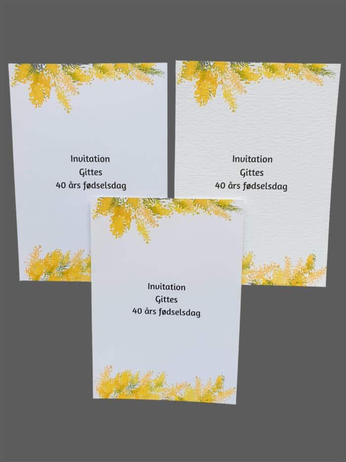 Invitation med gule blomster - print på karton