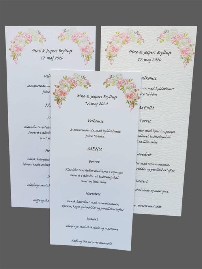 Menukort med roser - print på karton