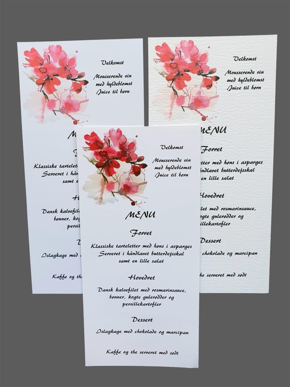 Menukort med kirsebærblomster - print på karton