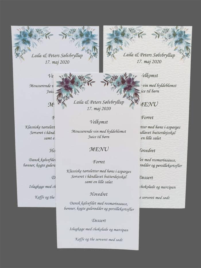 Menkort med blå blomster - print på karton