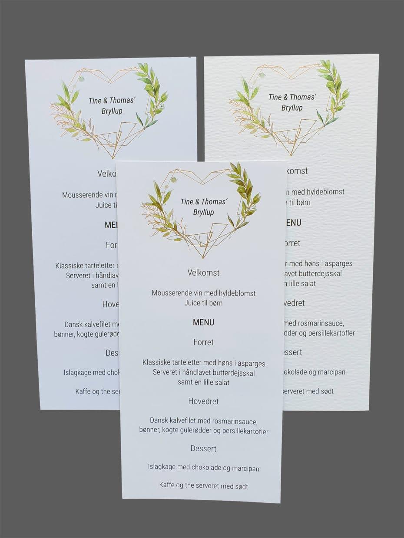 Menukort med grønne blade - print på karton