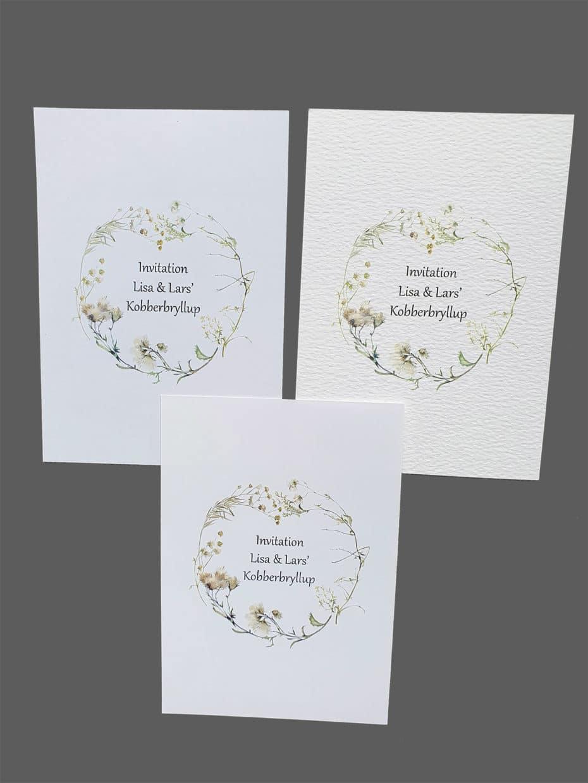 Invitation efterårsblomster printet på karton