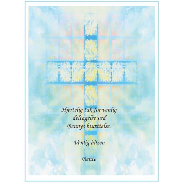 Takkekort bisættelse blåt kors