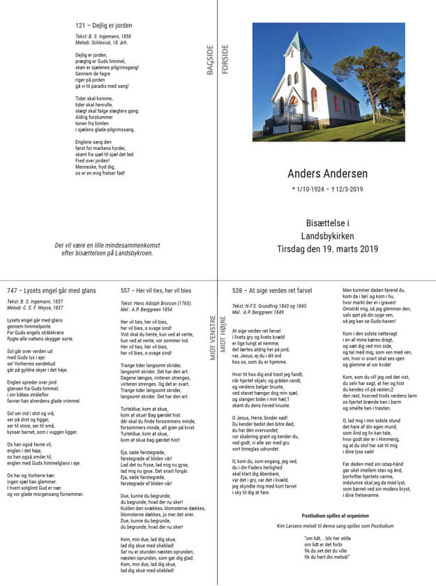 Print af salmeblad med kirke