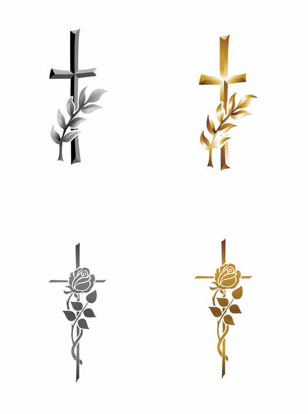 Symboler-kors-olivengren-rose