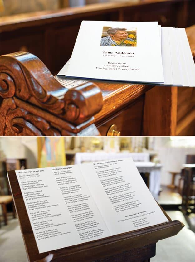Personlig salmehæfte til begravelse