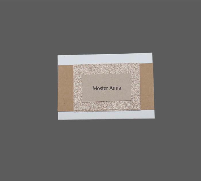 Bordkort til kobberbryllup med glimmer