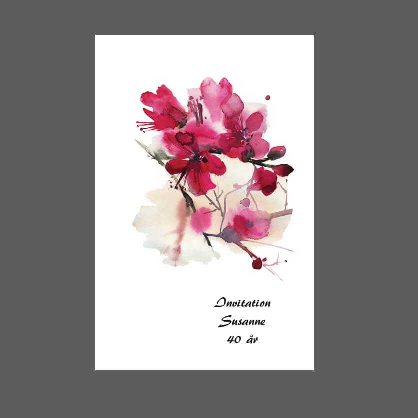 Invitation med blomster til fødselsdag