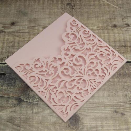 Etui invitation udstanset mat rosa - Emerald