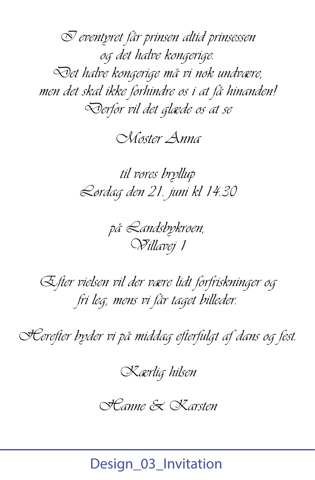 Opsætning af tekst til invitation - Design 03