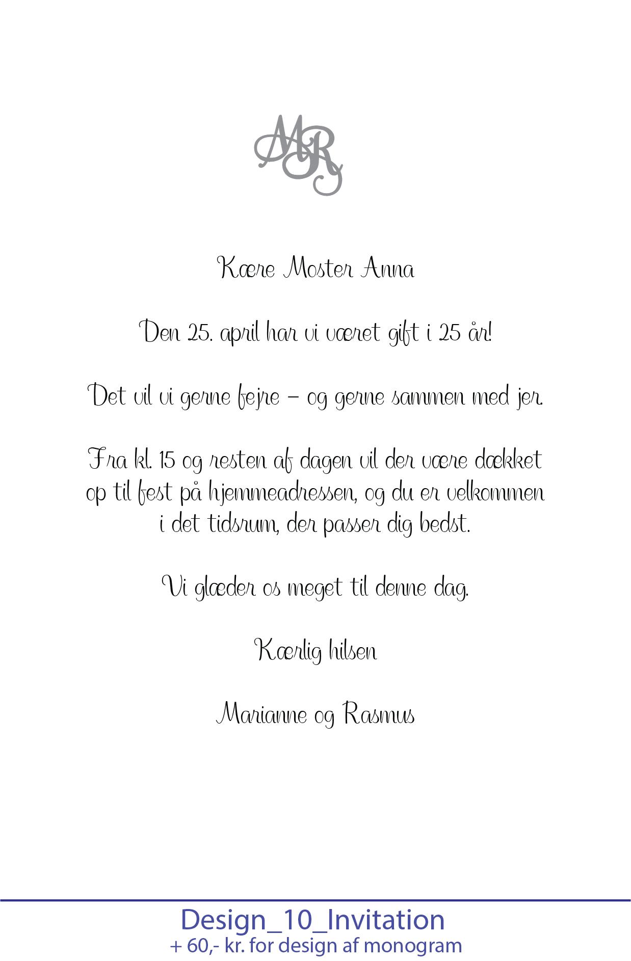 Invitationsopsætning med monogram - Design 10