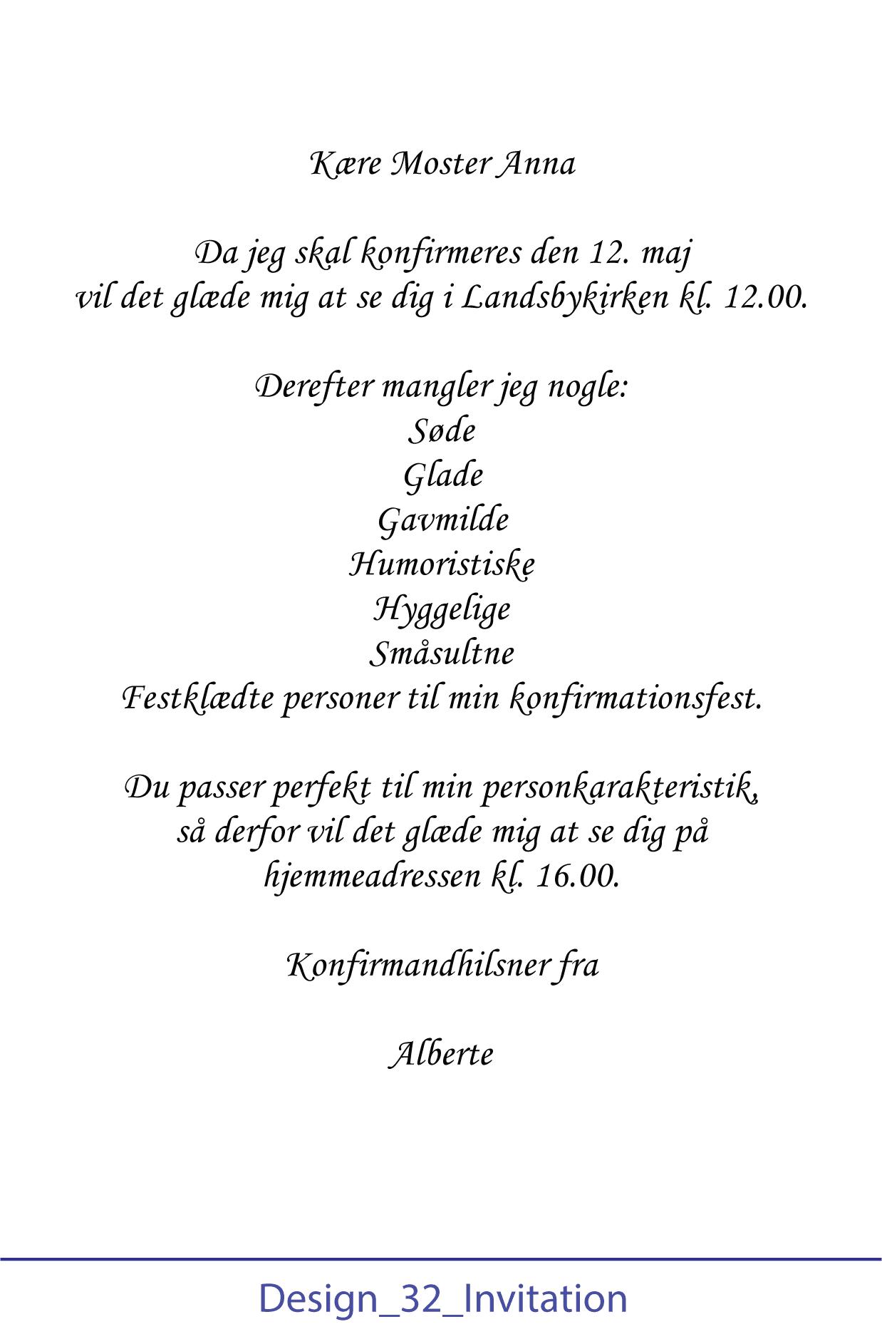Opsætning af invitation til konfirmation - Design 32