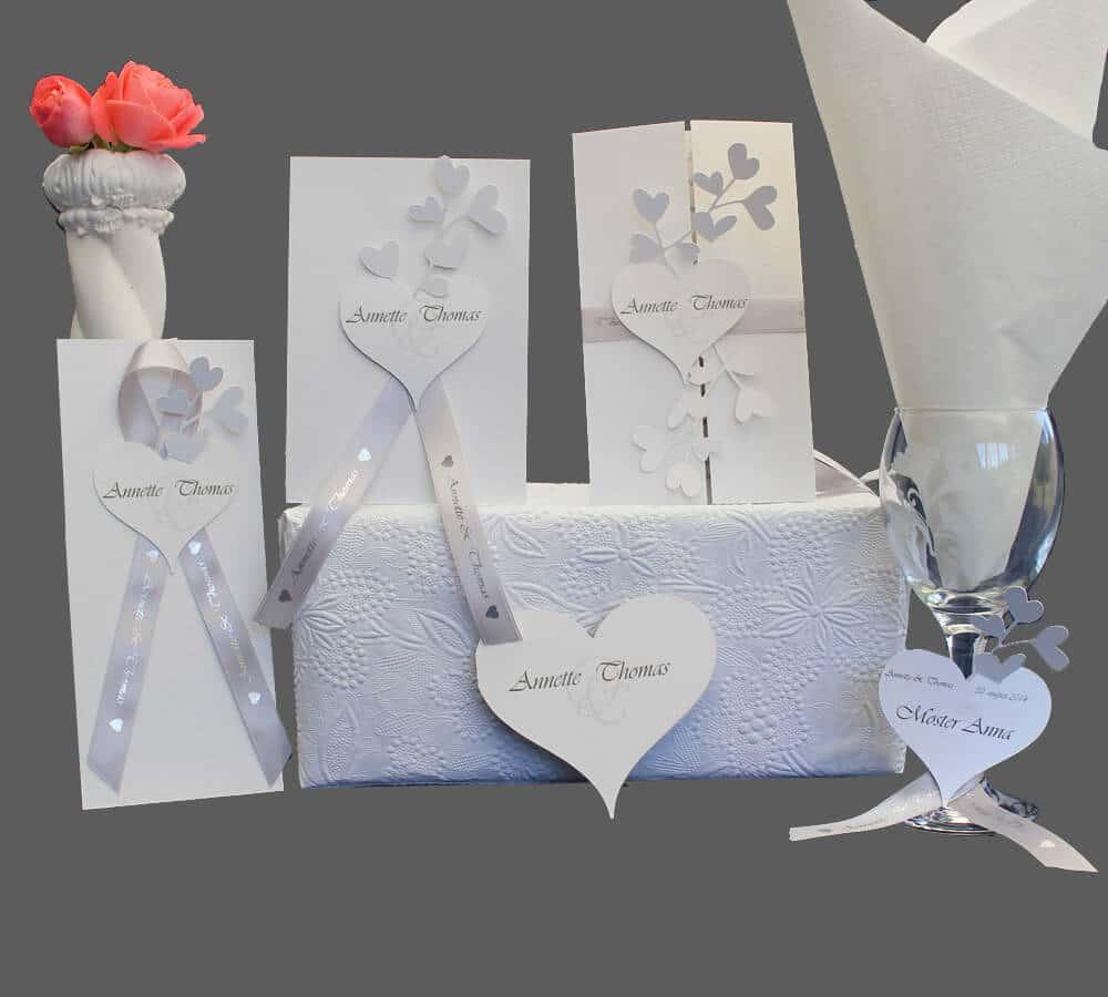 invitationer, kirkeprogram, bordkort, menukort, save-the-day til bryllup