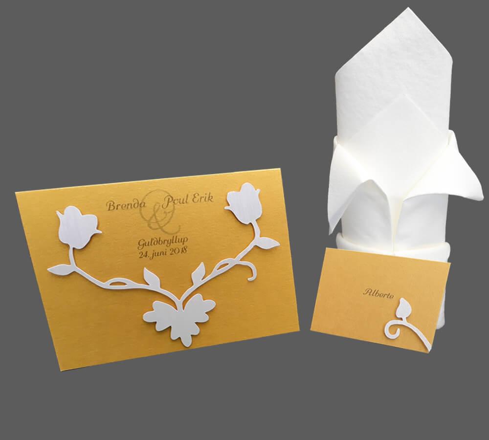 invitation, bordkort til guldbryllup guld med hvid blomst
