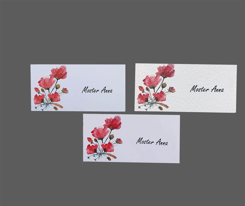 Bordkort med valmuer printet på 3 slags karton