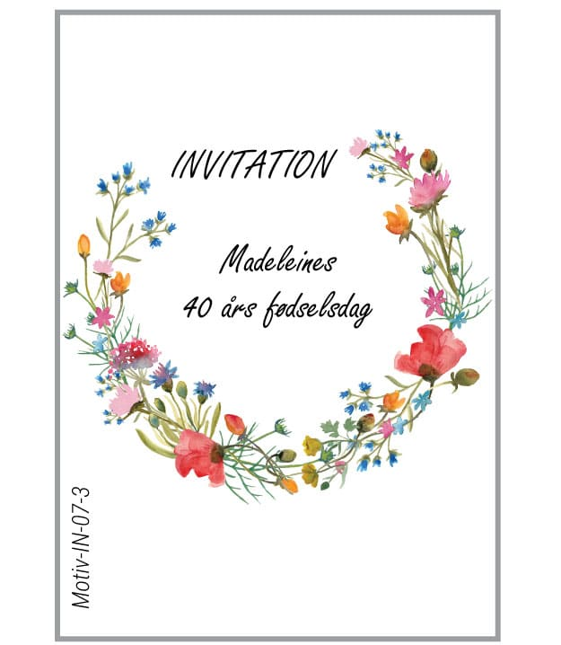 Invitation med åben krans af markblomster