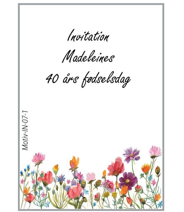 Invitation med grøftekantsblomster