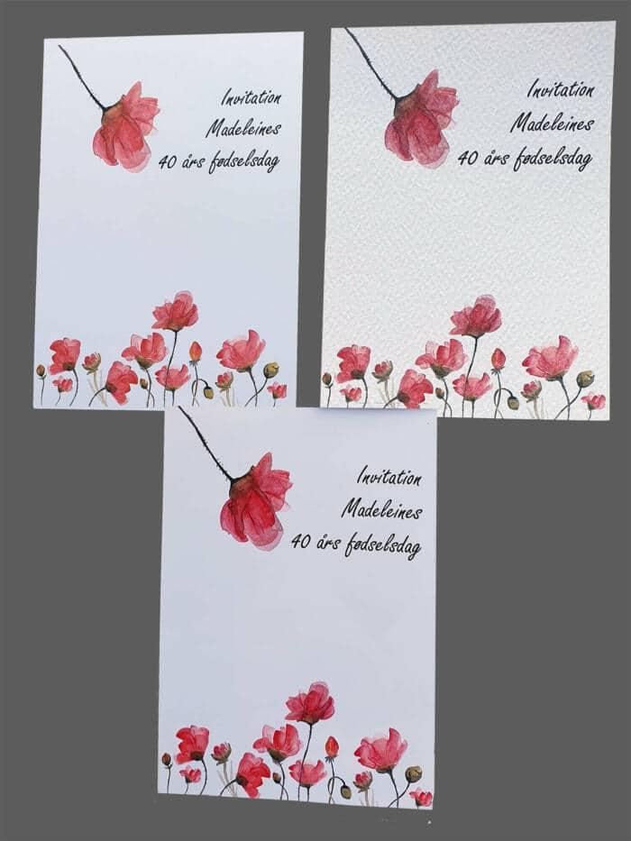 Invitationer med valmuer printet på 3 slags karton
