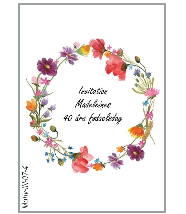 Invitation med krans af vilde blomster