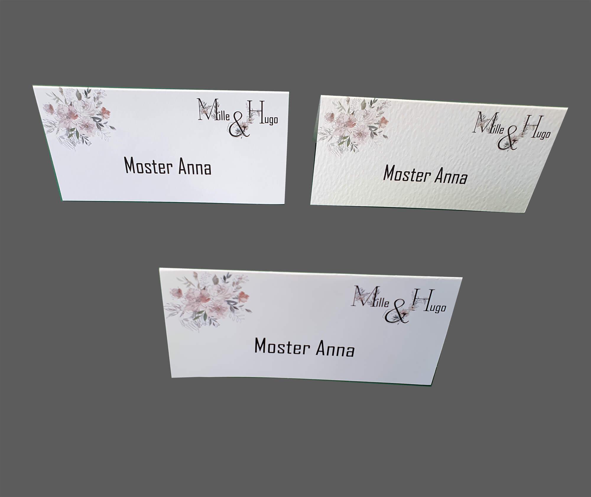 Print af bordkort på kvalitetskarton