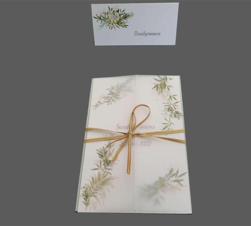 Bordkort og invitationer med grønne blade