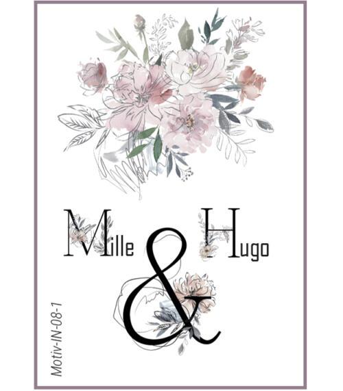 Invitation til bryllup med watercolor blomster