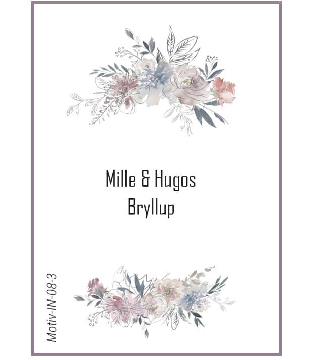 Invitation med blomster i støvede vandfarver