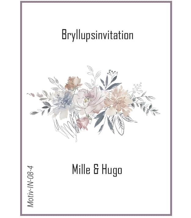 Bryllupsinvitation med blomstermotiv