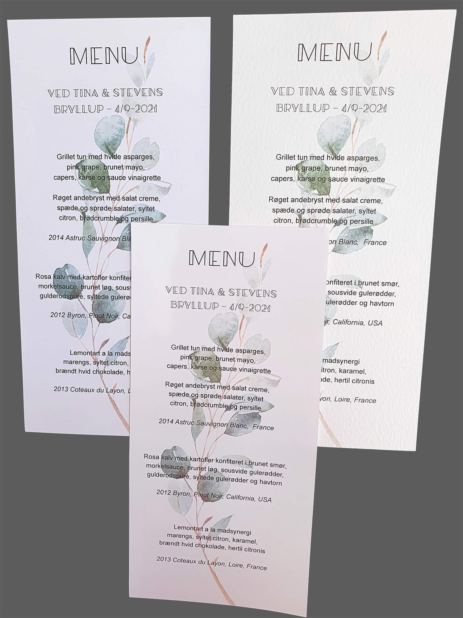 Menukort med eucalyptusgrene - printet på 3 slags karton