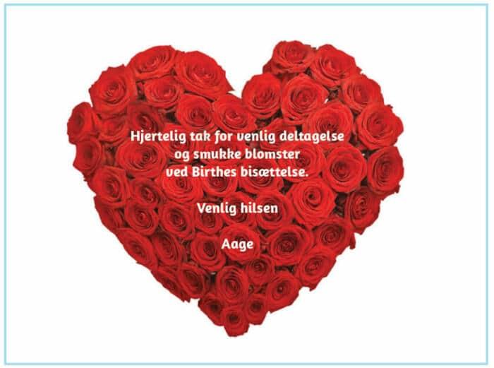 Takkekort begravelse rosenhjerte