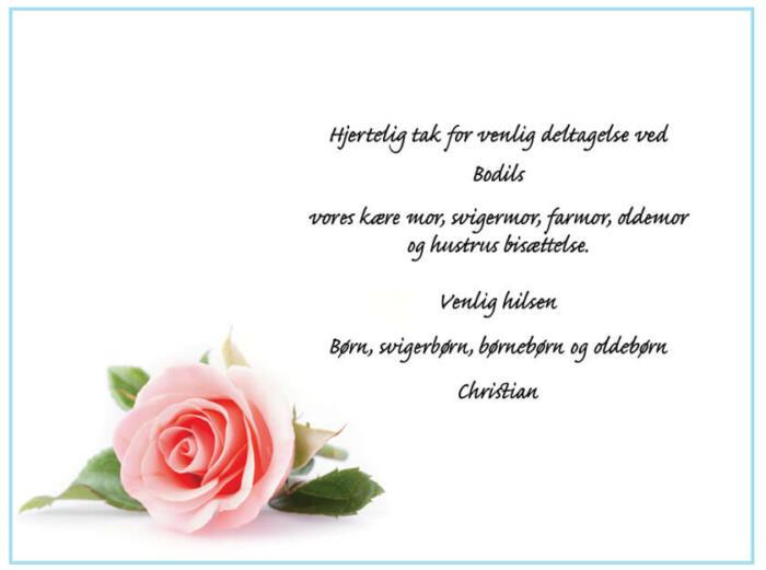Takkekort bisættelse enkelt rose