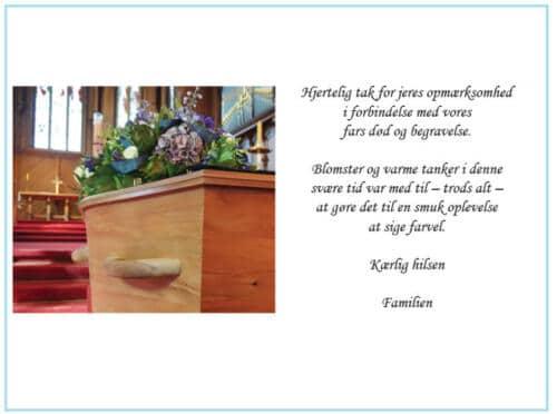 Takkekort begravelse kiste