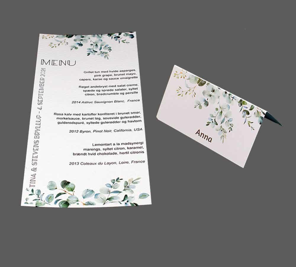 Menukort og bordkort med eucalyptus