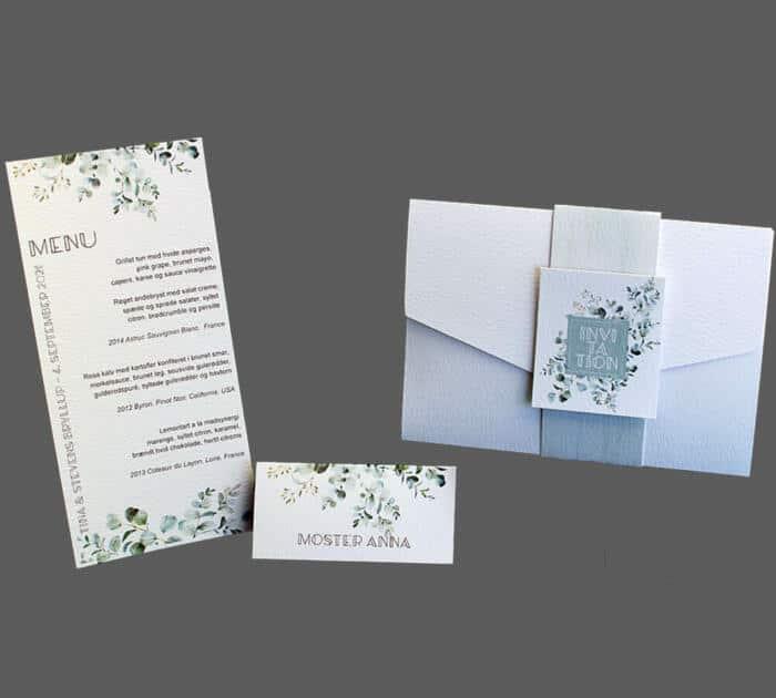 Invitation, menukort og bordkort med eucalyptus