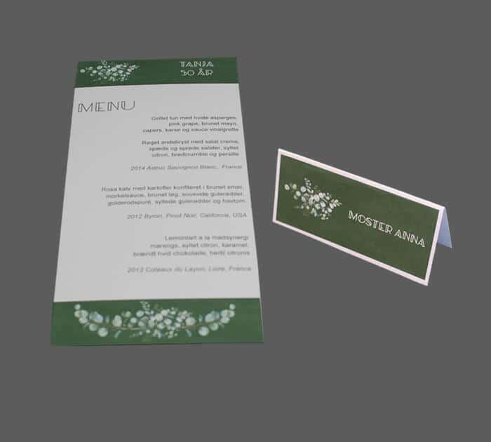 Menukort og bordkort til fødselsdag med eucalyptusblomster