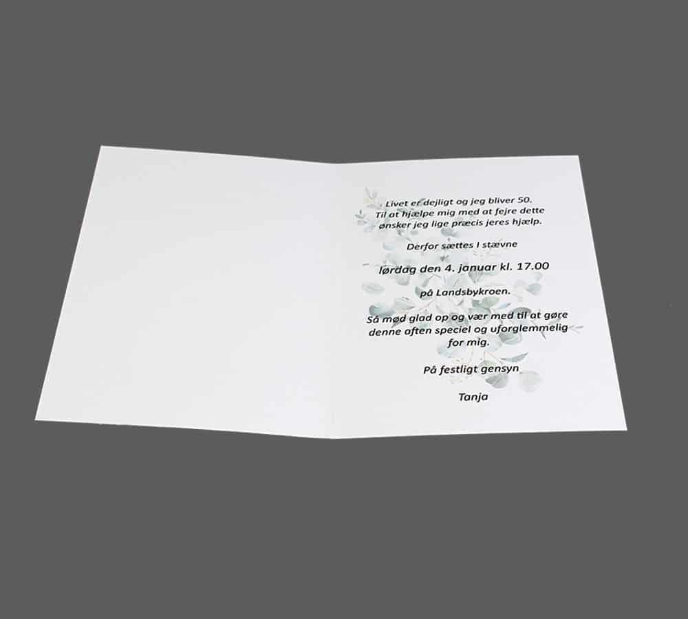 Invitation til fødselsdag med eucalyptusblomster
